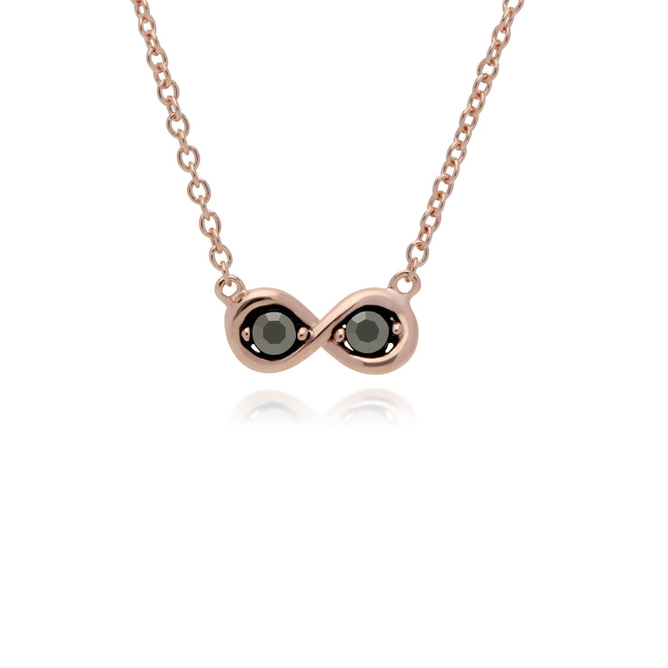Rose Gold Plated Round Marcasite Infinity Necklace in 925 Sterling Silver