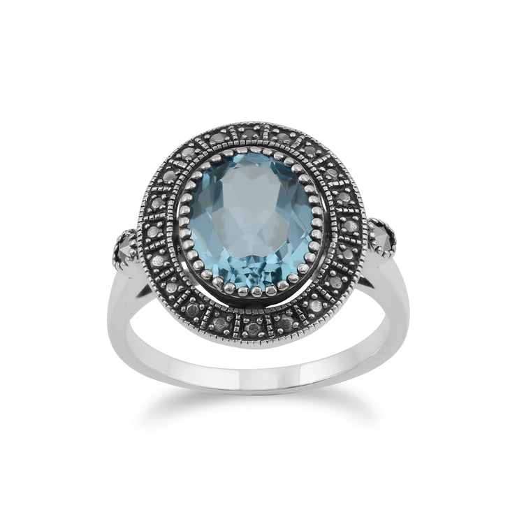 Art Deco Style Oval Blue Topaz & Marcasite Statement Cocktail Ring in 925 Sterling Silver
