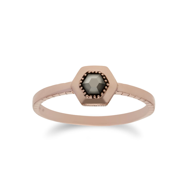 Rose Gold Plated Marcasite Hexagon Design Ring in 925 Sterling Silver