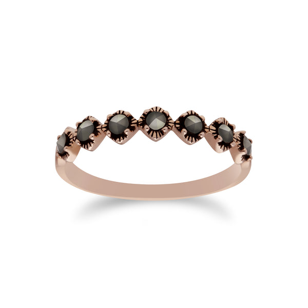 Rose Gold Plated Silver Marcasite Round Half Eternity  Ring