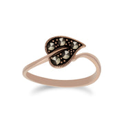 Rose Gold Plated Silver Round Marcasite Leaf Design Ring