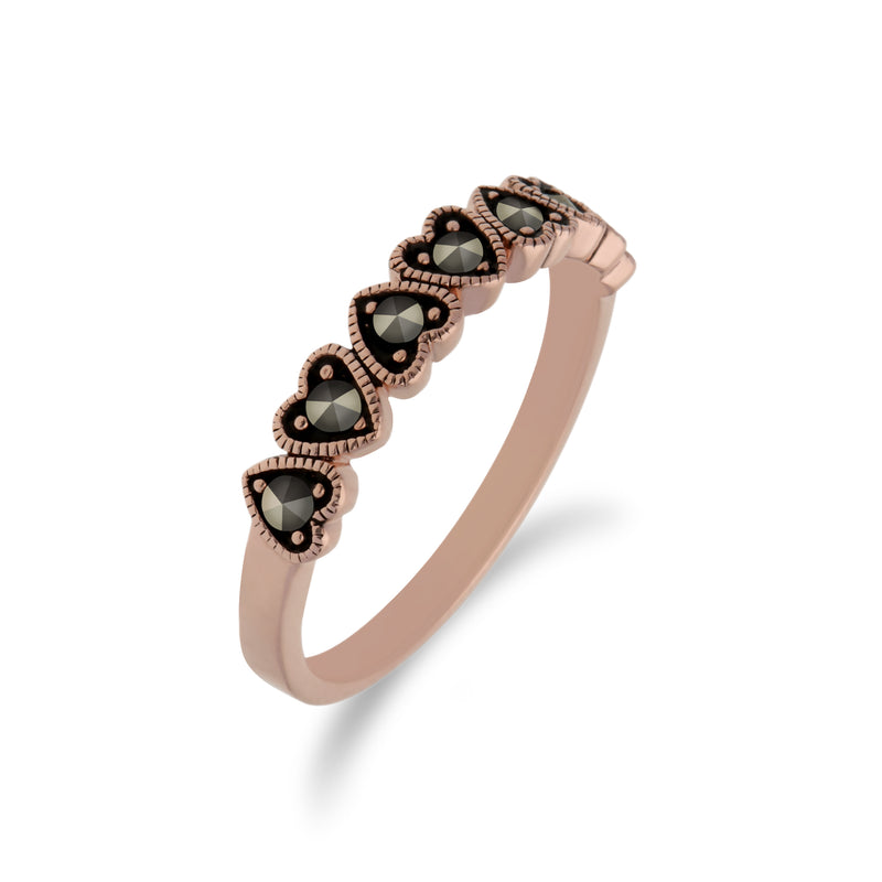 Rose Gold Plated Round Marcasite Heart Half Eternity Ring in 925 Sterling Silver