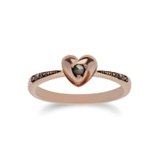 Rose Gold Plated Round Marcasite Heart Design Ring in 925 Sterling Silver