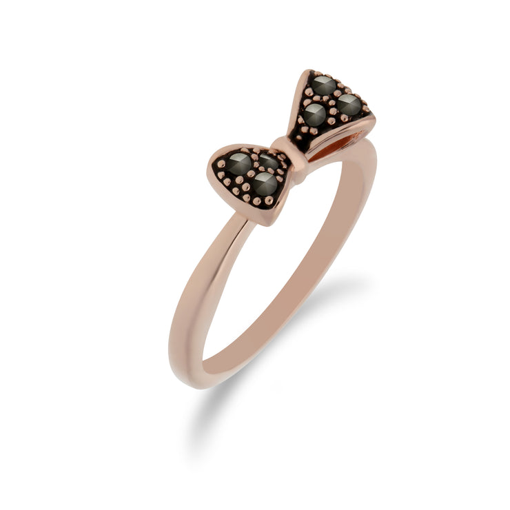 Rose Gold Plated Round Marcasite Bow Design Ring in 925 Sterling Silver