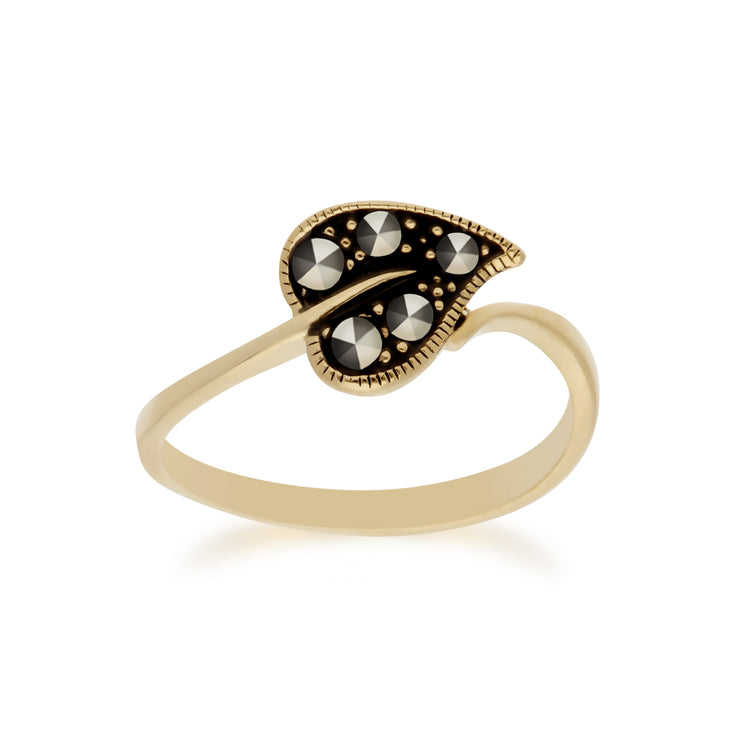 Classic Round Marcasite Leaf Design Yellow Gold Plated Silver  Ring