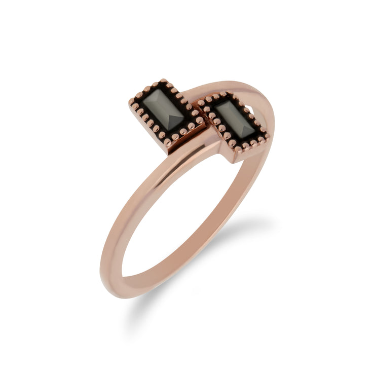 Rose Gold Plated Silver Rectangle Marcasite Wrap Ring