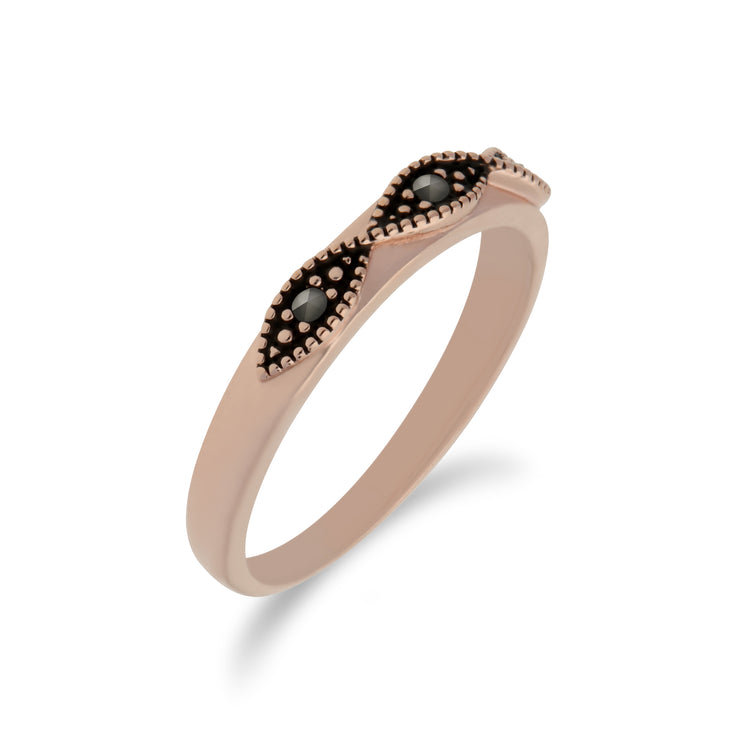 Rose Gold Plated Silver  Marcasite Twist Design Ring