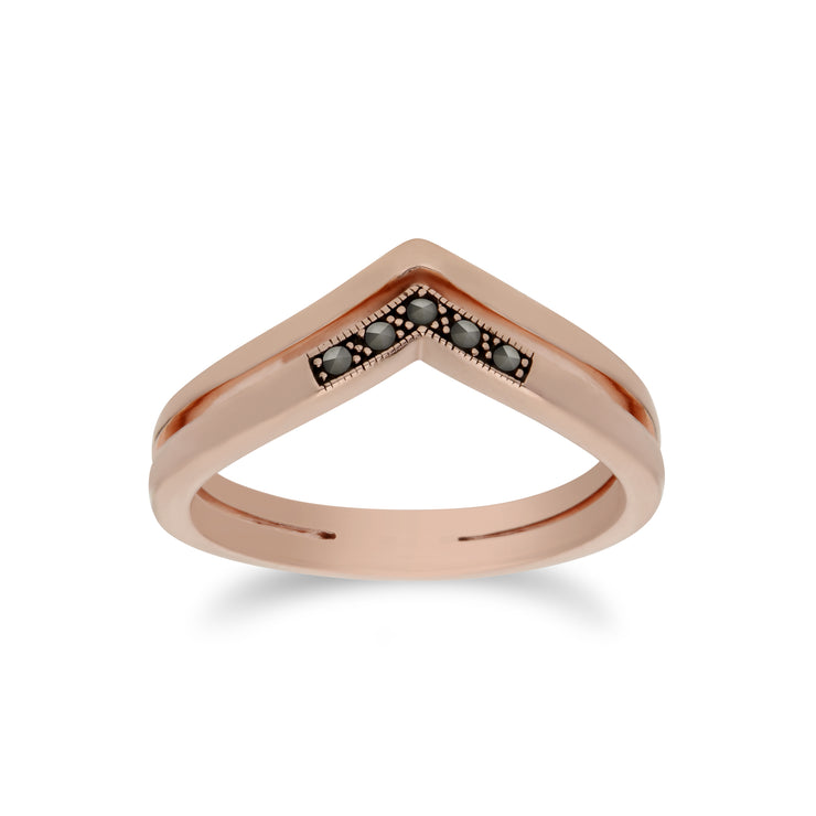 Rose Gold Plated Silver Marcasite Triangle Point Double Design Ring