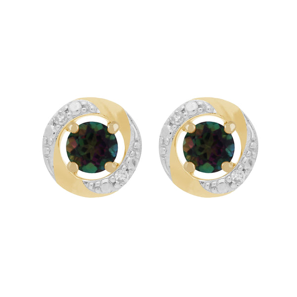 Classic Mystic Topaz Stud Earrings & Diamond Halo Ear Jacket Image 1