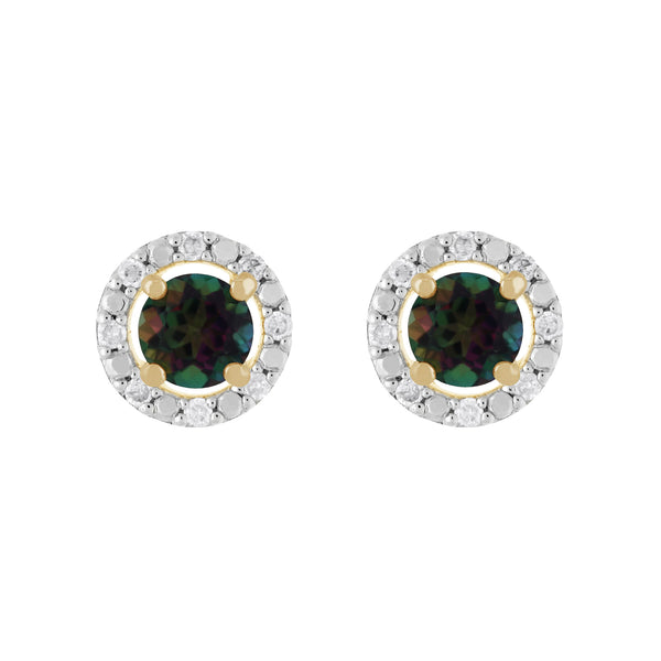Classic Mystic Topaz Stud Earrings & Diamond Round Earrings Jacket Set Image 1