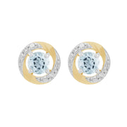 9ct White Gold Aquamarine Stud Earrings & Diamond Halo Ear Jacket Image 1