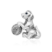 Art Nouveau Round Marcasite & Sapphire Playful Dog Brooch in 925 Sterling Silver