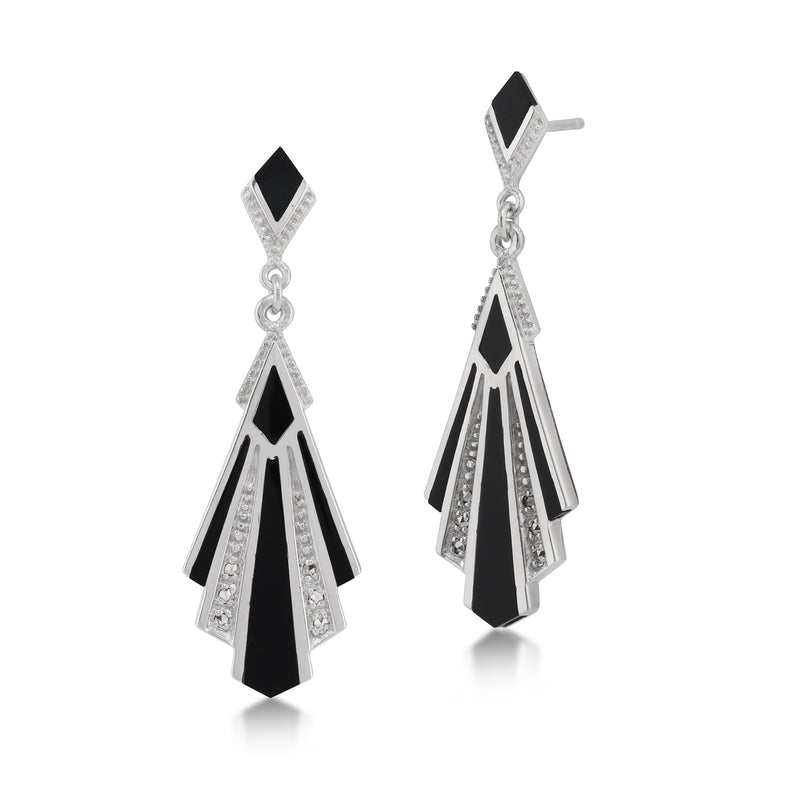Art Deco Style Cabochon Black Onyx & Marcasite Drop Earrings in 925 Sterling Silver