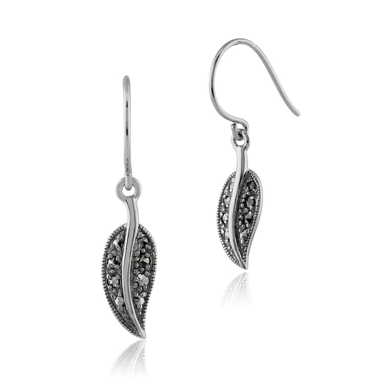 Art Nouveau Style Round Marcasite Leaf Drop Earrings in 925 Sterling Silver