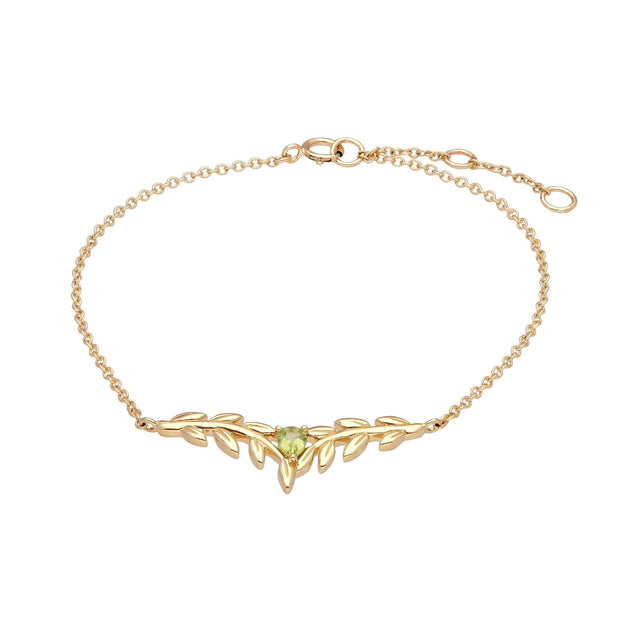 O Leaf Peridot Bracelet in 9ct Yellow Gold