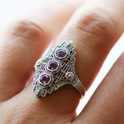 Art Nouveau Style Octagon Amethyst Three Stone Filigree Statement Ring in 925 Sterling Silver