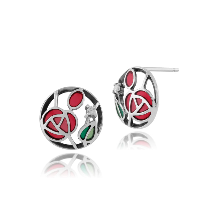 Rennie Mackintosh Round Diamond & Enamel Stud Earrings in 925 Sterling Silver