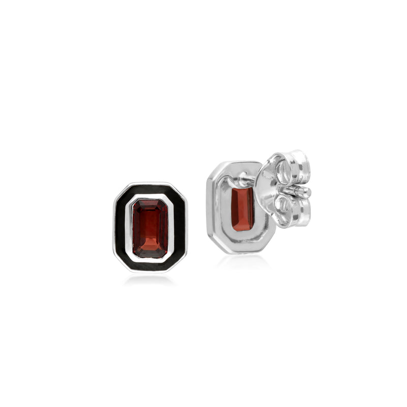 Art Deco Style Octagon Garnet & Black Enamel Stud Earrings in 925 Sterling Silver 8x6mm
