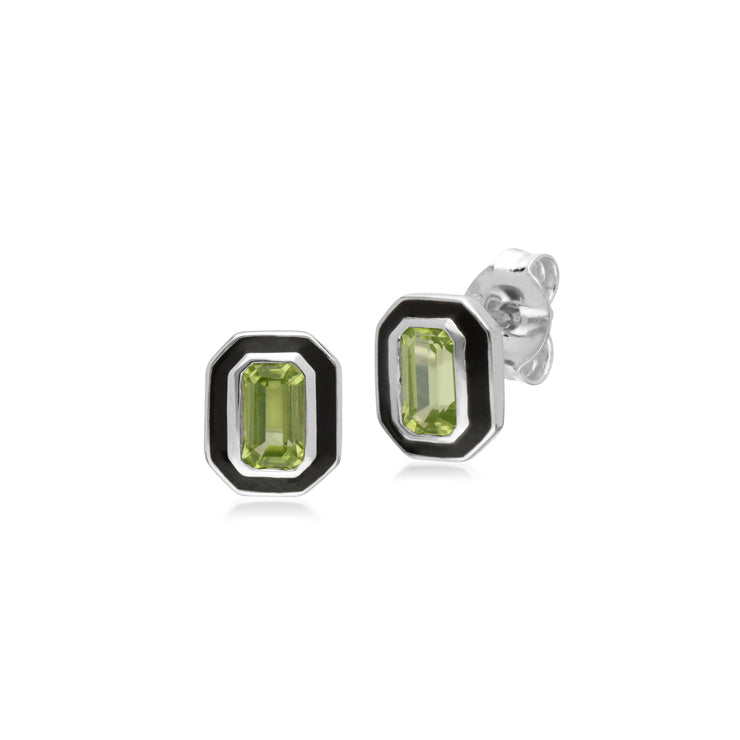 Art Deco Style Octagon Peridot & Black Enamel Stud Earrings in 925 Sterling Silver 8x6mm