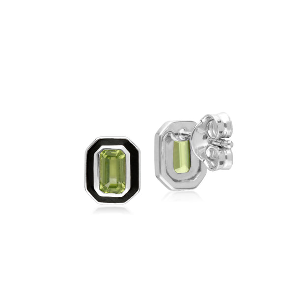 Gemondo Sterling Silver Peridot and Black Enamel Octagon Stud Earrings