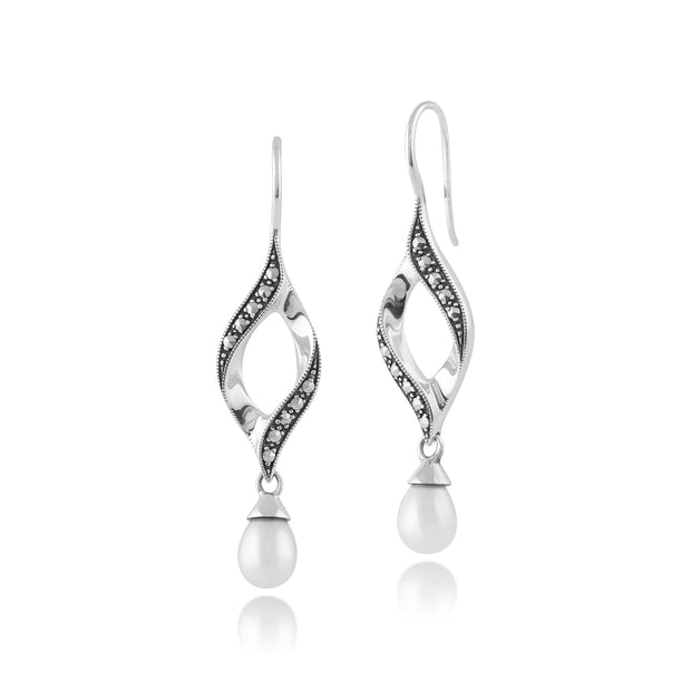 Art Nouveau Style Pear Freshwater Pearl & Marcasite Twist Drop Earrings in 925 Sterling Silver