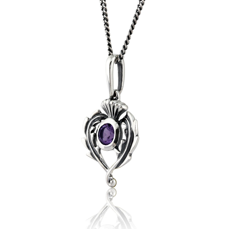 Art Nouveau Style Round Amethyst & Marcasite Thistle Pendant in 925 Sterling Silver