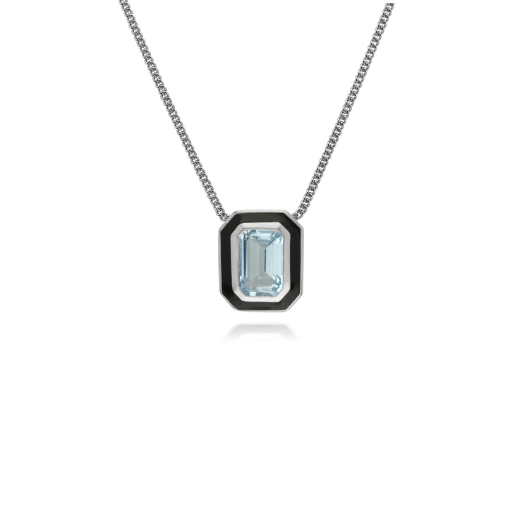 Art Deco Style Octagon Blue Topaz & Black Enamel Pendant in 925 Sterling Silver