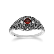 Art Deco Style Round Garnet & White Topaz  Ring in 925 Sterling Silver