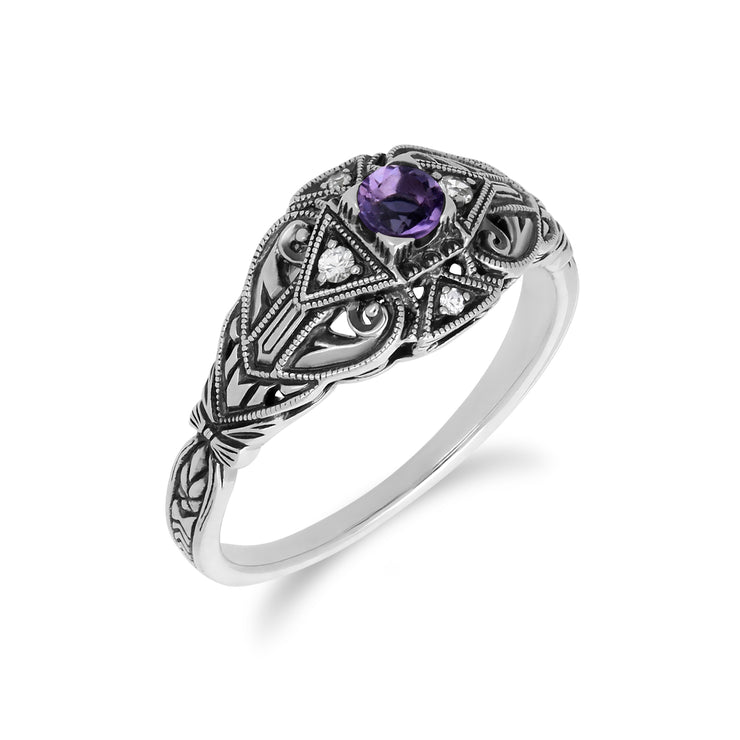 Art Deco Style Round Amethyst & White Topaz  Ring in 925 Sterling Silver