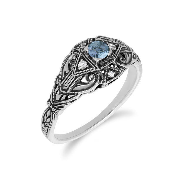 Art Deco Style Round Blue Topaz & White Topaz  Ring in 925 Sterling Silver