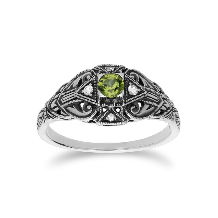 Art Deco Style Round Peridot & White Topaz  Ring in 925 Sterling Silver