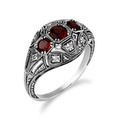 Art Deco Style Round Garnet & White Topaz Three Stone Ring in 925 Sterling Silver