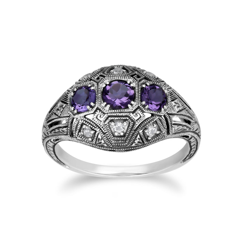 Art Deco Style Round Amethyst & White Topaz Three Stone Ring in 925 Sterling Silver