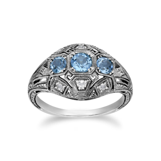 Art Deco Style Round Blue & White Topaz Three Stone Ring in 925 Sterling Silver