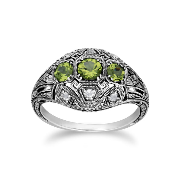 Art Deco Style Round Peridot & White Topaz Three Stone Ring in 925 Sterling Silver