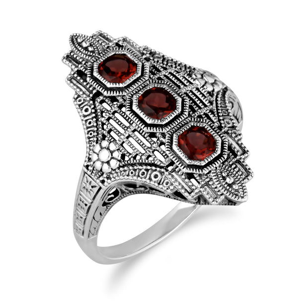 Art Nouveau Style Octagon Garnet Three Stone Filigree Statement Ring in 925 Sterling Silver