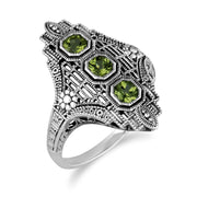 Art Nouveau Style Octagon Peridot Three Stone Filigree Statement Ring in 925 Sterling Silver