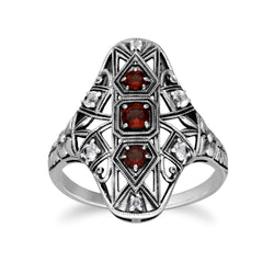 Art Nouveau Style Round Garnet & White Topaz Statement Ring in 925 Sterling Silver