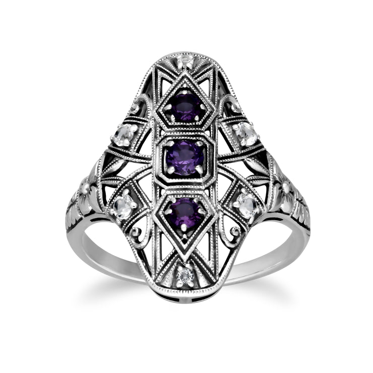 Art Nouveau Style Round Amethyst & White Topaz Statement Ring in 925 Sterling Silver
