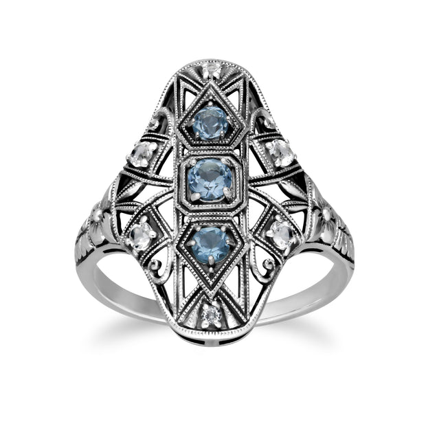 Art Nouveau Style Round Blue & White Topaz Statement Ring in 925 Sterling Silver