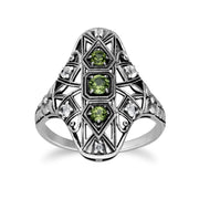 Art Nouveau Style Round Peridot & White Topaz Statement Ring in 925 Sterling Silver