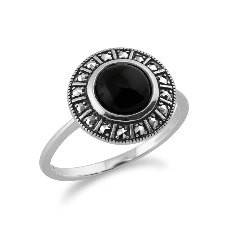 Art Deco Style Round Black Onyx Cabochon & Marcasite Halo Ring in 925 Sterling Silver