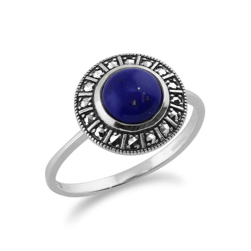 Art Deco Style Round Lapis Lazuli Cabochon & Marcasite Halo Ring in 925 Sterling Silver