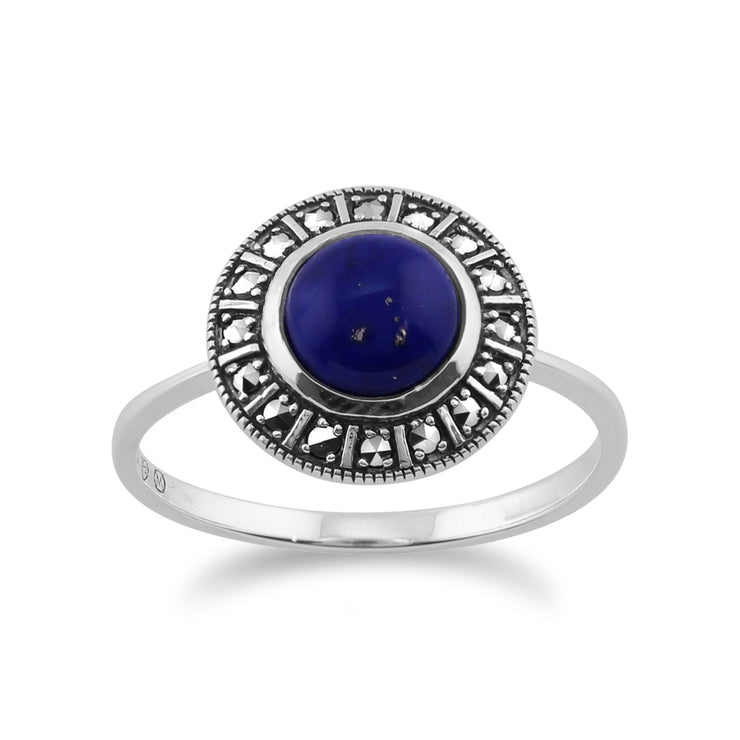 Art Deco Style Round Lapis Lazuli & Marcasite Halo Stud Earrings & Ring Set in 925 Sterling Silver