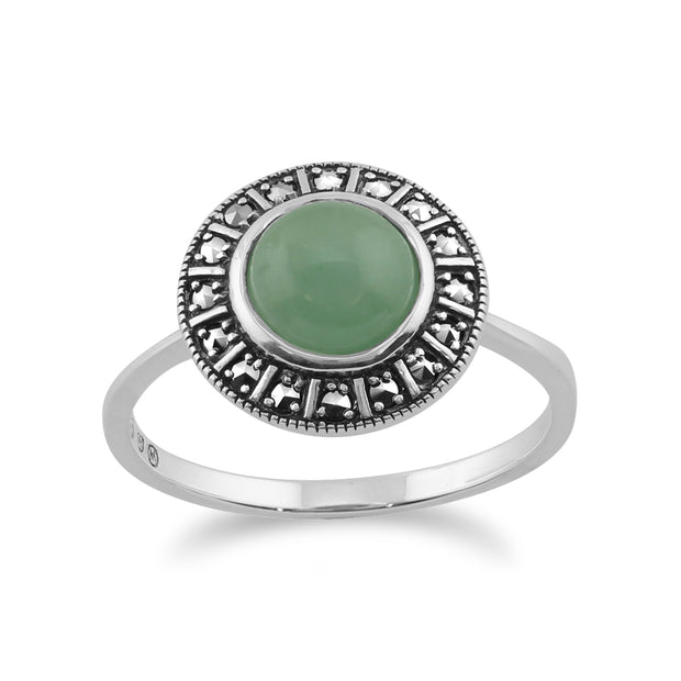 Art Deco Style Round Green Jade Cabochon & Marcasite Halo Ring in 925 Sterling Silver