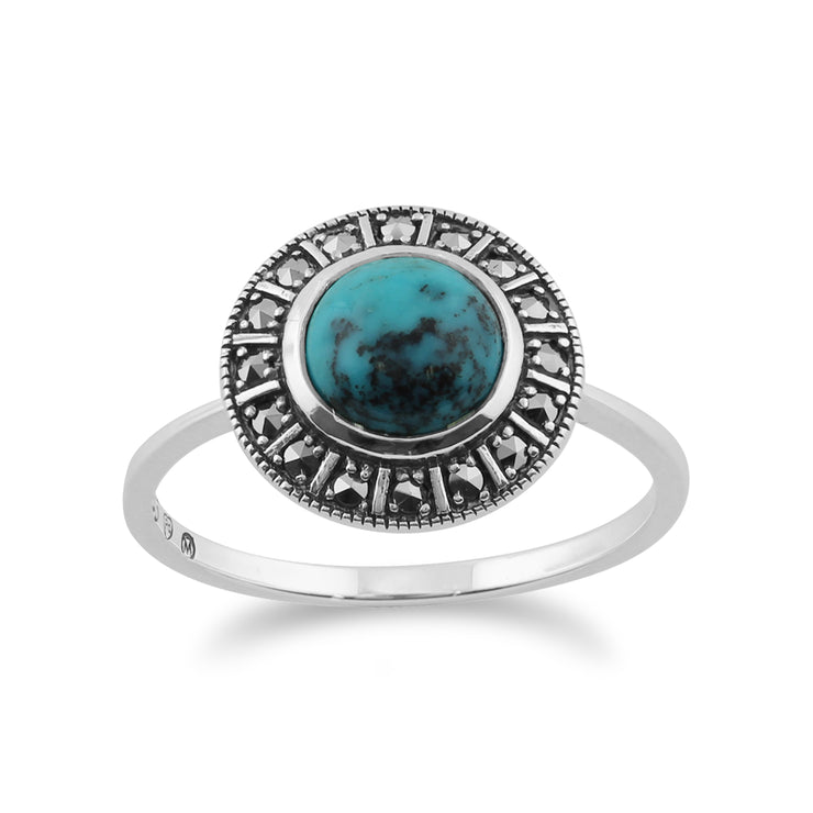 Art Deco Style Round Turquoise Cabochon & Marcasite Halo Ring in 925 Sterling Silver