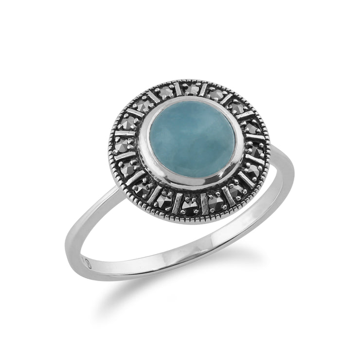 Art Deco Style Round Milky Aquamarine Cabochon & Marcasite Silver  Halo Ring