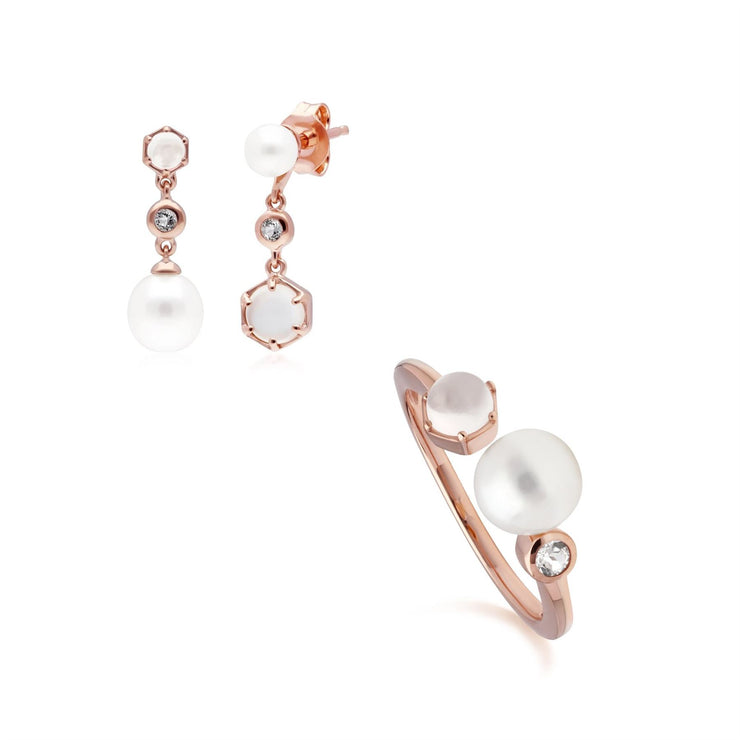 Modern Pearl, Moonstone & Topaz Earring & Ring Set in Rose Gold Plated Sterling Silver
