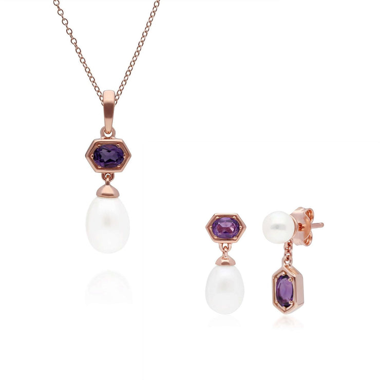 Modern Pearl & Amethyst Pendant & Earring Set in Rose Gold Plated Sterling Silver