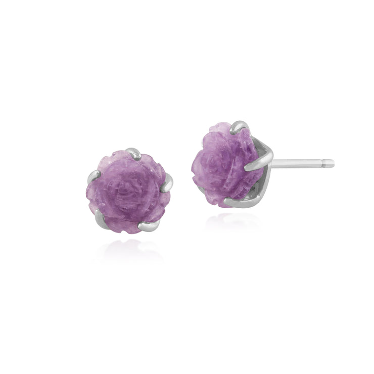 Floral Carved Amethyst Rose Stud Earrings in 925 Sterling Silver 8mm